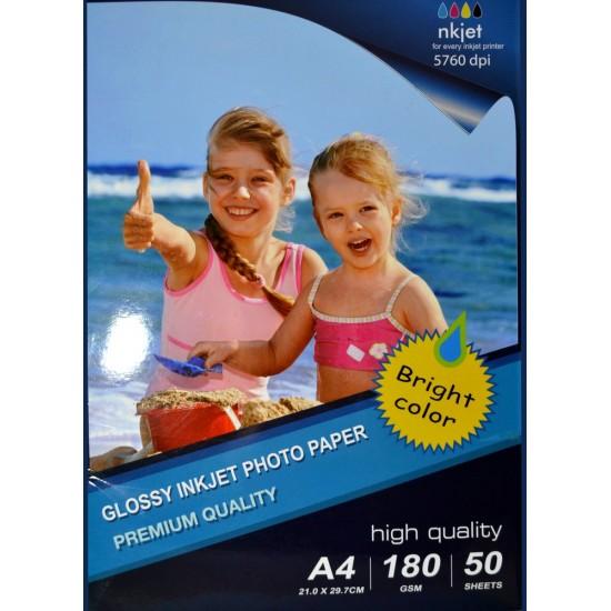 Papel fotográfico brillante A4 Inkjet 180 gramos /m² - 50 hojas