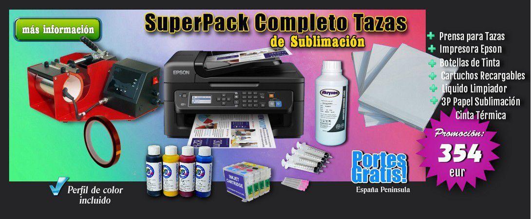 Pack Impresora WF-2610 sublimacion tazas