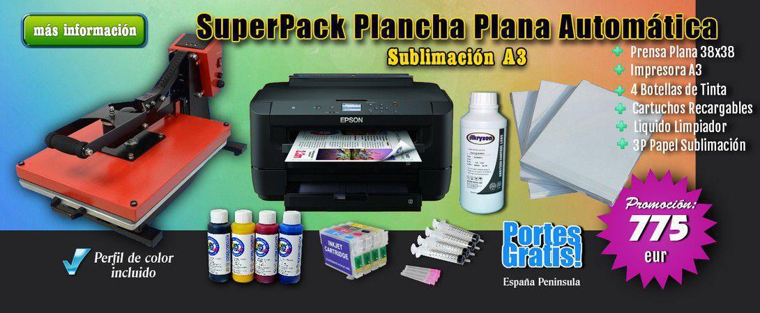 Pack Completo Sublimación A3 Epson WF-7210 DTW + Prensa plana de 38x38cm