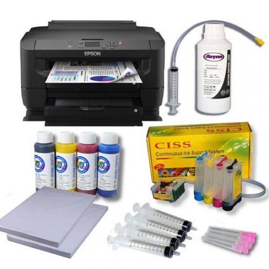 Impresora Epson WF-7210 DTW Pack Sublimación A3 + CISS Sistema Continuo + Tinta + Papel Transfer