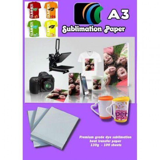 Papel Sublimacion Premium A3 para Rigidos y Textil Camisetas Gorras Platos Placas Azulejos etc 100 hojas 100gr/m2
