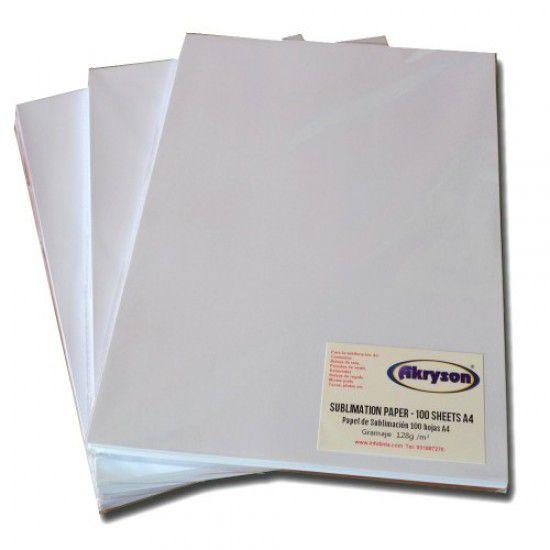 Papel Sublimacion A4 para Textil, Telas, Camisetas, Gorras, Sudaderas, Polos, 100 hojas 128gr/m2