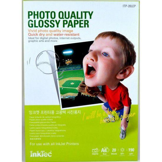Papel para Impresora Fotografico Brillante 190 gr A4 20 hojas
