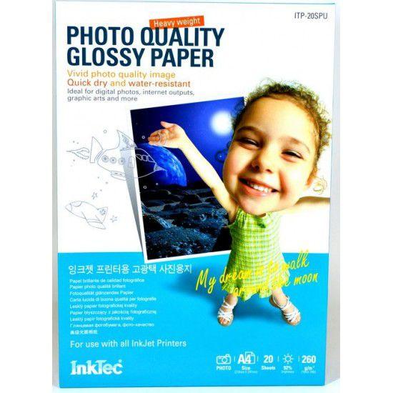 Papel para Impresora Fotografico Glossy 260 gr A4 20 hojas