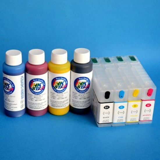 Cartuchos Rellenables para Epson WF-4630DWF Autoreseteables Kit con Tintas