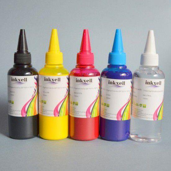 Pack 4 Botellas de tinta para Epson de 4 colores pigmentado mas limpiador