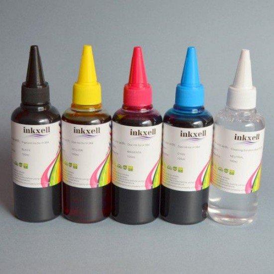 Pack 4 Botellas de tinta para Hp de 4 colores mas limpiador