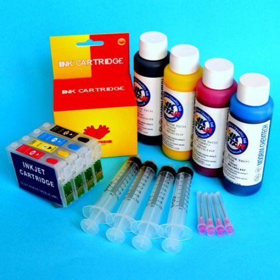 Cartuchos Rellenables para Epson WF-3640DTWF Autoreseteables Kit con Tintas
