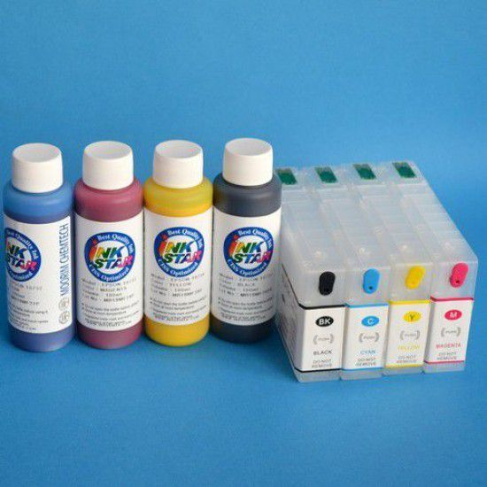 Cartuchos Rellenables para Epson WP-4595 DNF Autoreseteables Kit con Tintas